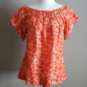 Banana Republic silk top orange & white prin Small